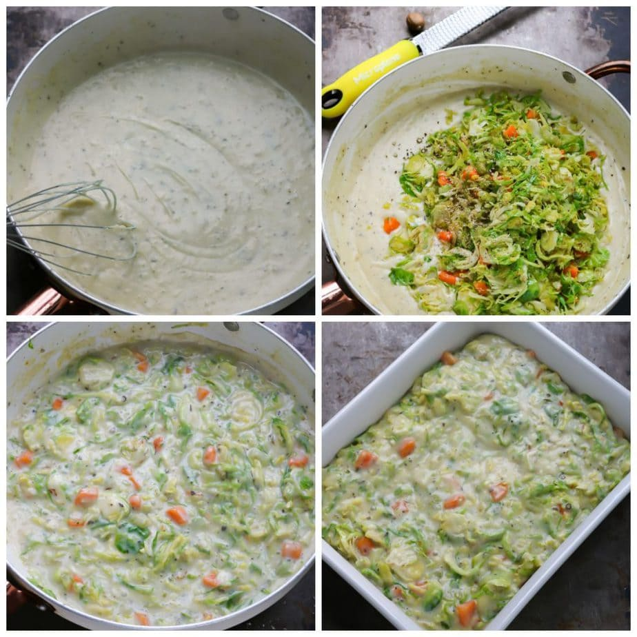 Collage: cream sauce, veg added, veg cooked in, filling in pie dish.