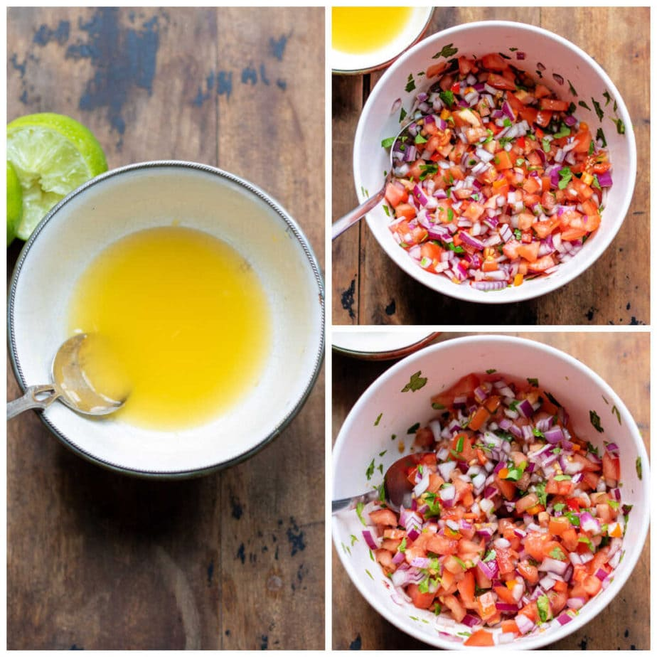 Collage: 1 bowl of lime and orange juice, 2 salsa ingredients in a bowl, 3 mixed with dressing.