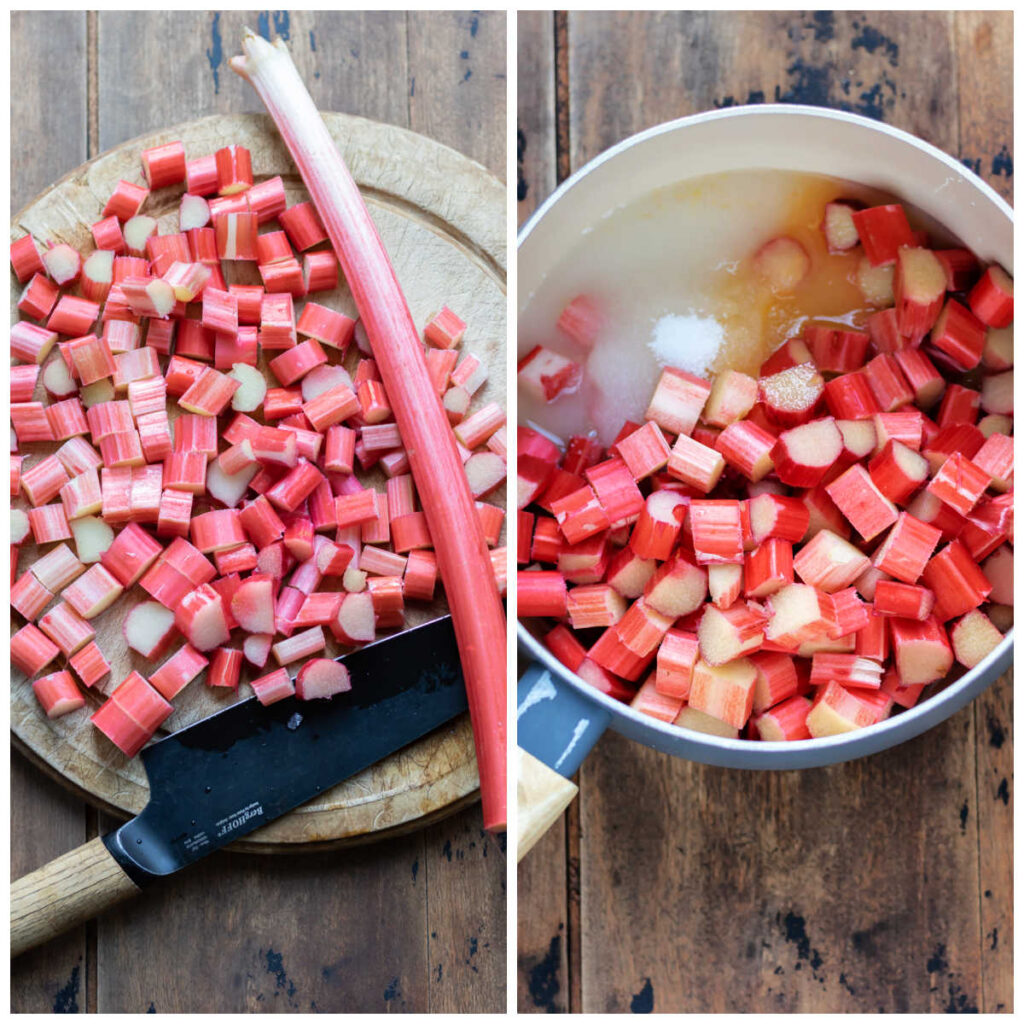 Collage: 1 chopping rhubarb, 2 added to a pot with water, sugar and orange juice.