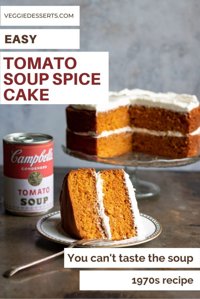 Slice of cake with text: Easy tomato soup spice cake.