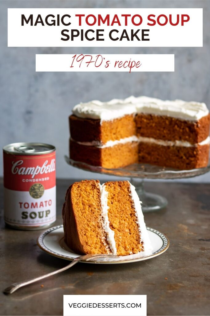 Slice of cake with text: Magic tomato soup spice cake.