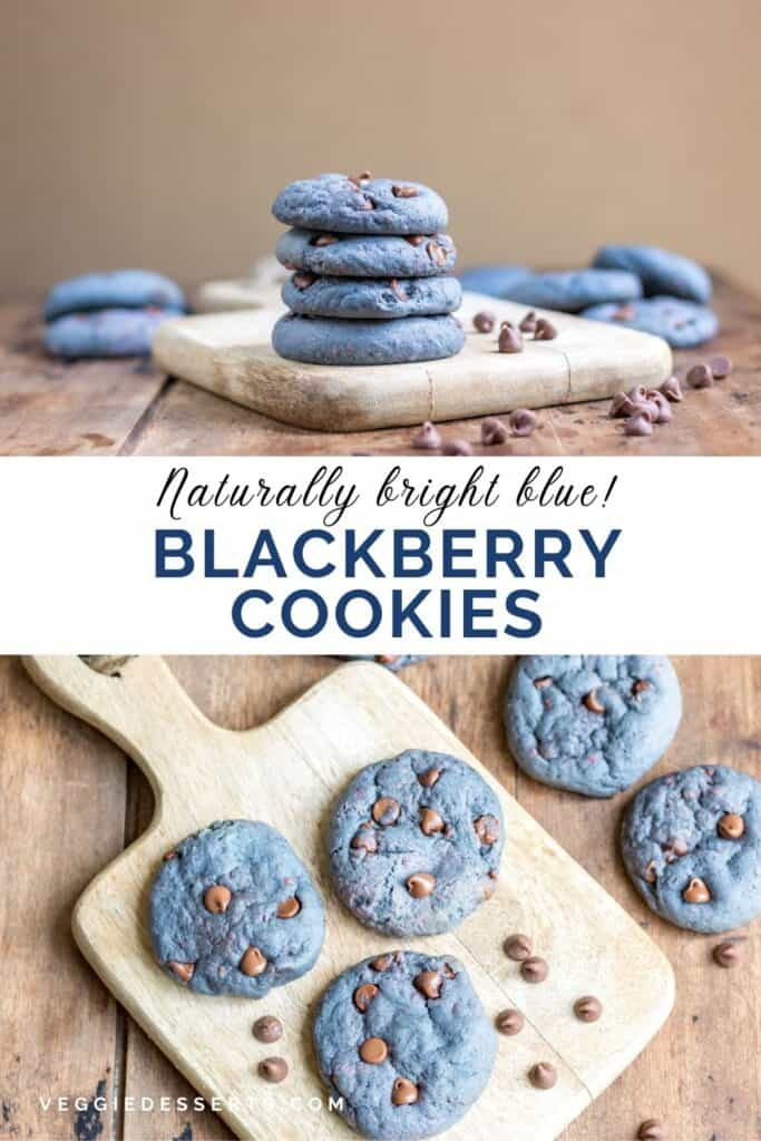 Collage of cookie pictures with text: Naturally bright blue Blackberry Cookies.