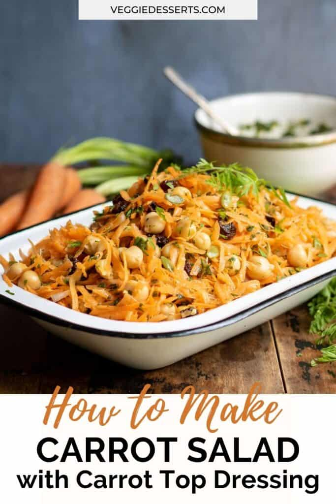 Bowl of salad with text: How to make carrot salad.