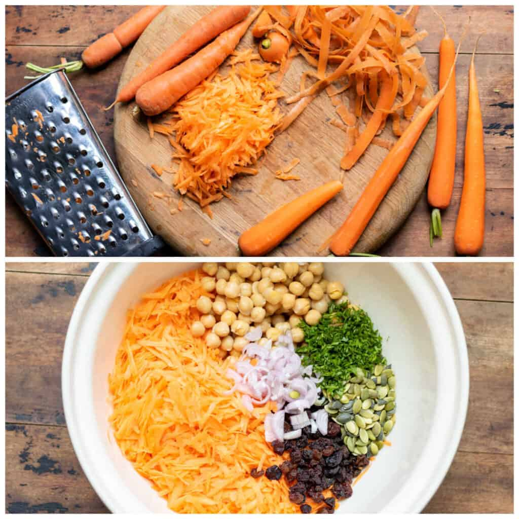 Collage: grating carrot, salad ingredients in a bowl.