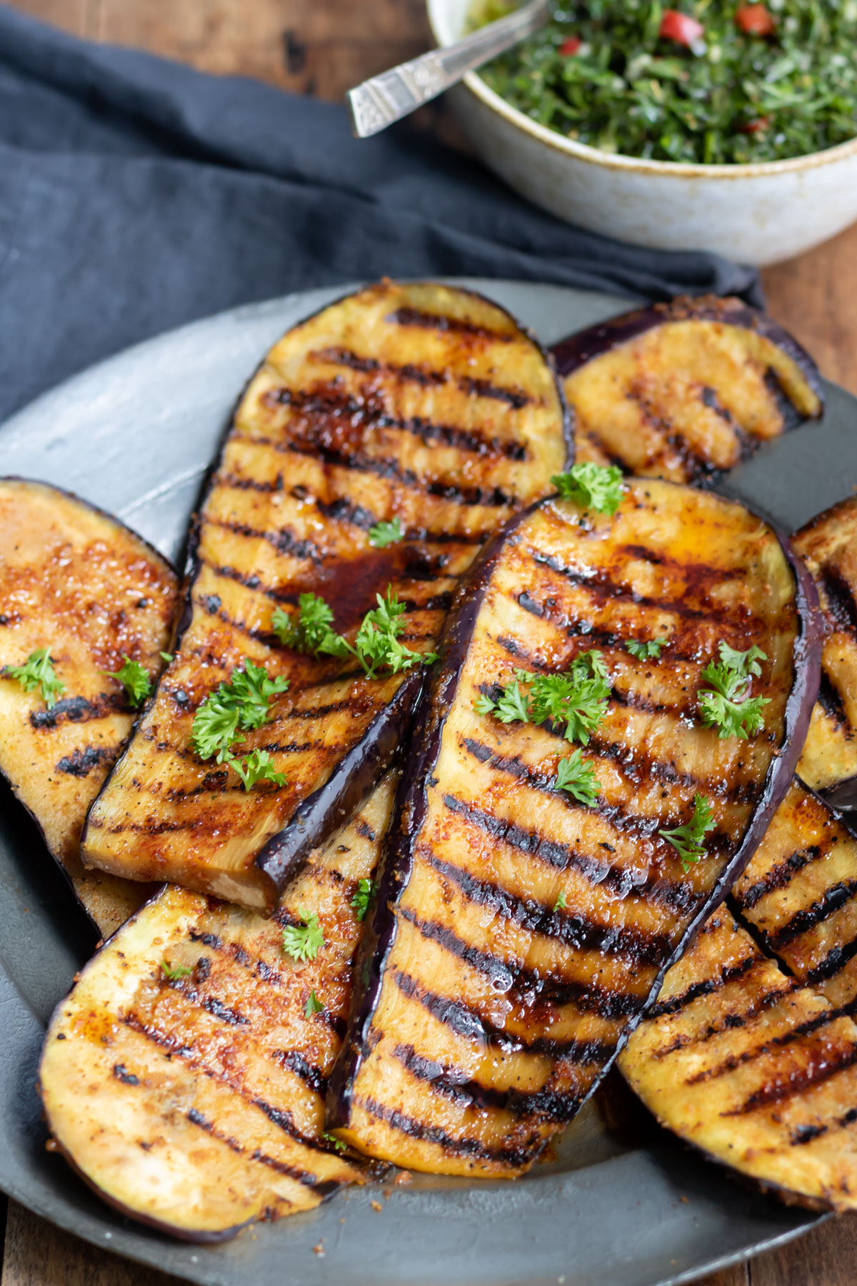 Close up of grilled eggplant.