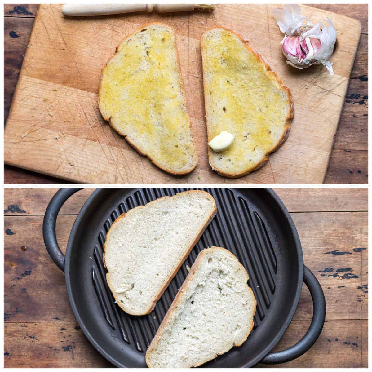 Collage of toasting bread.