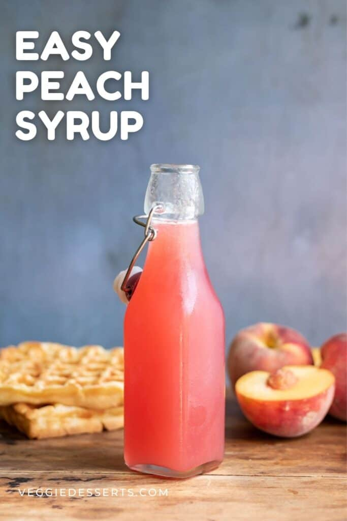 Bottle of peach simple syrup.