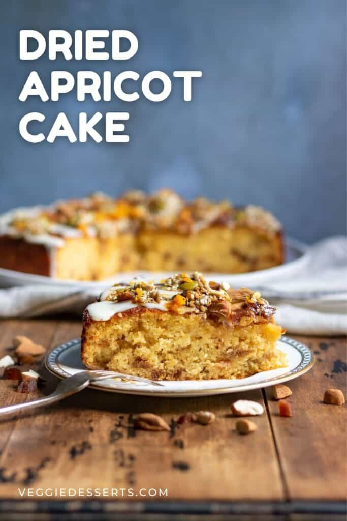 Slice of cake on a plate with text: Dried Apricot Cake.