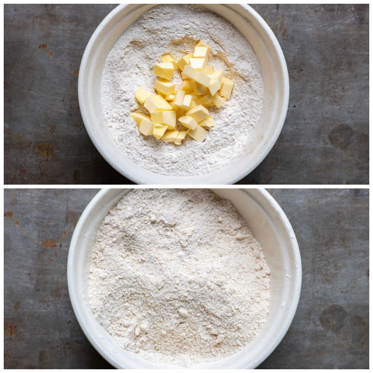 Bowl of dry ingredients with butter rubbed in.