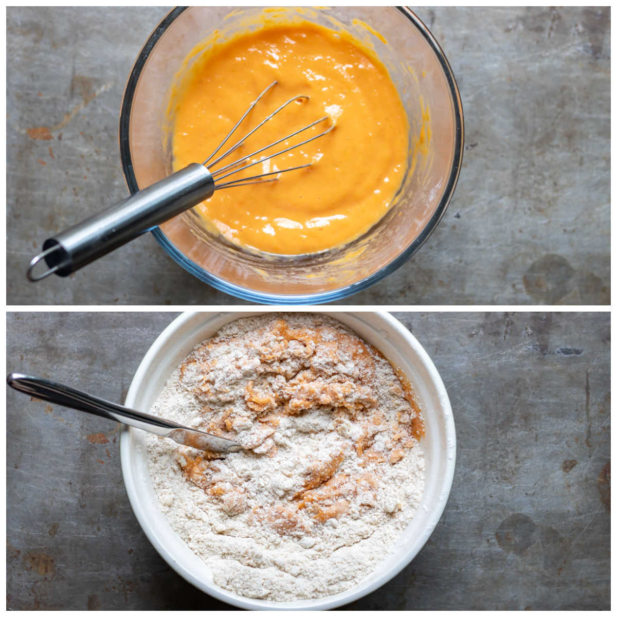 Mixing pumpkin puree and adding to the bowl.