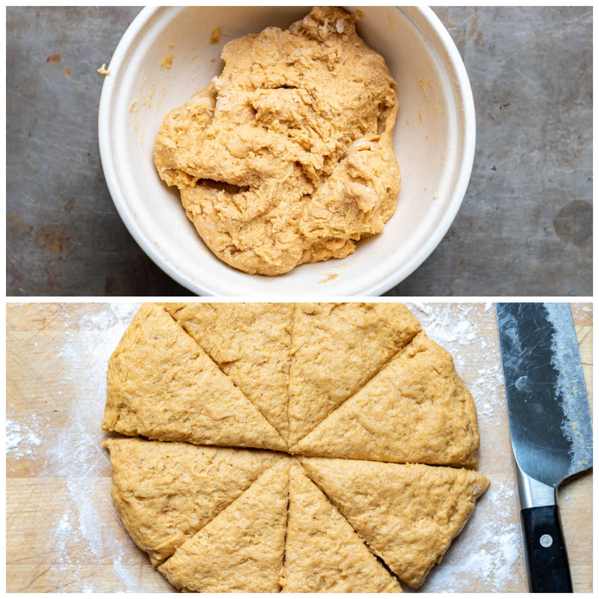 Collage: scone dough in a bowl, and pat into a round.